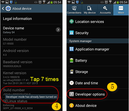 Process 2 to open USB debugging on Android 4.2-4.3
