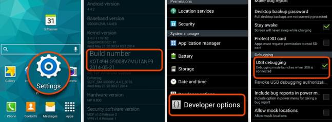 enable USB debugging on Android 4.4
