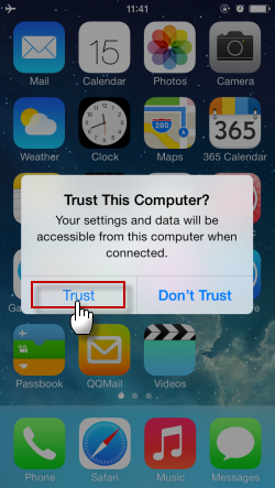 trust dialog on iPhone