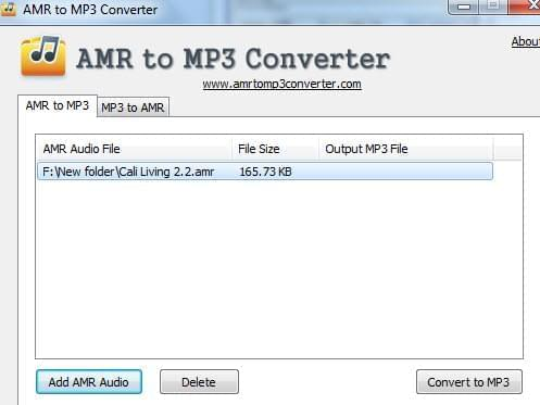free AMR to MP3 converter UI