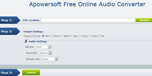 free online audio converter interface