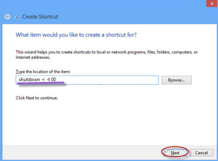 create restart shortcut on Windows 8