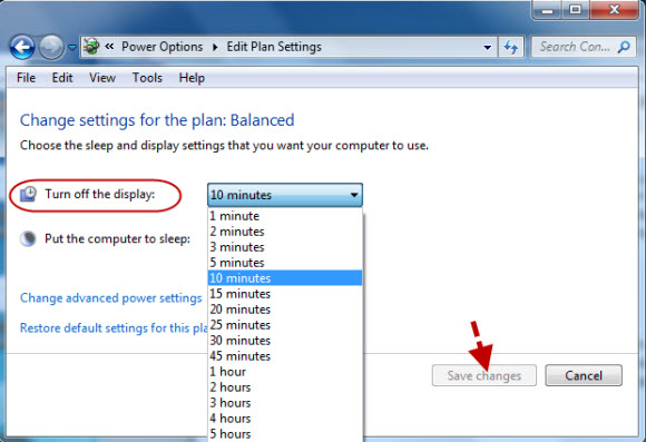 configure power settings