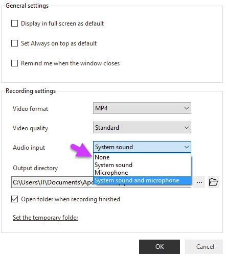 audio input setting option